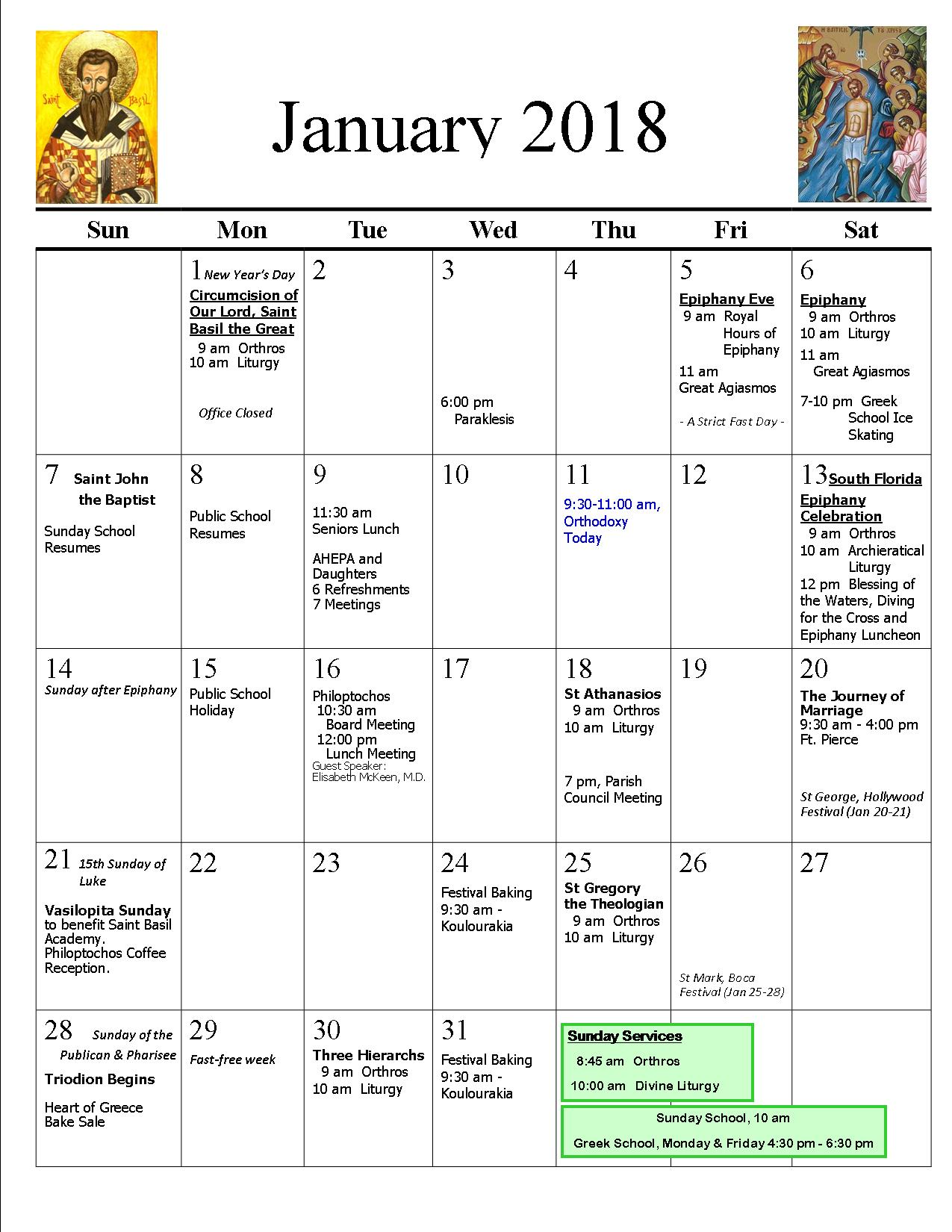 Parish Calendar | St. Catherine Greek Orthodox Church