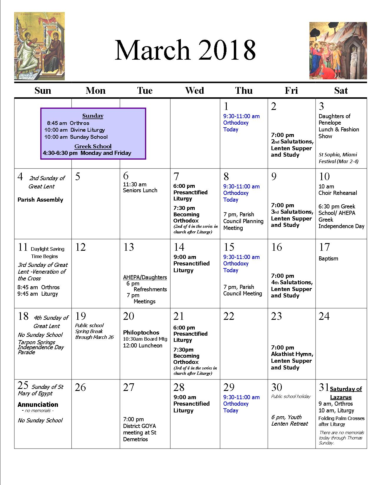 March 2018 Parish Calendar revised