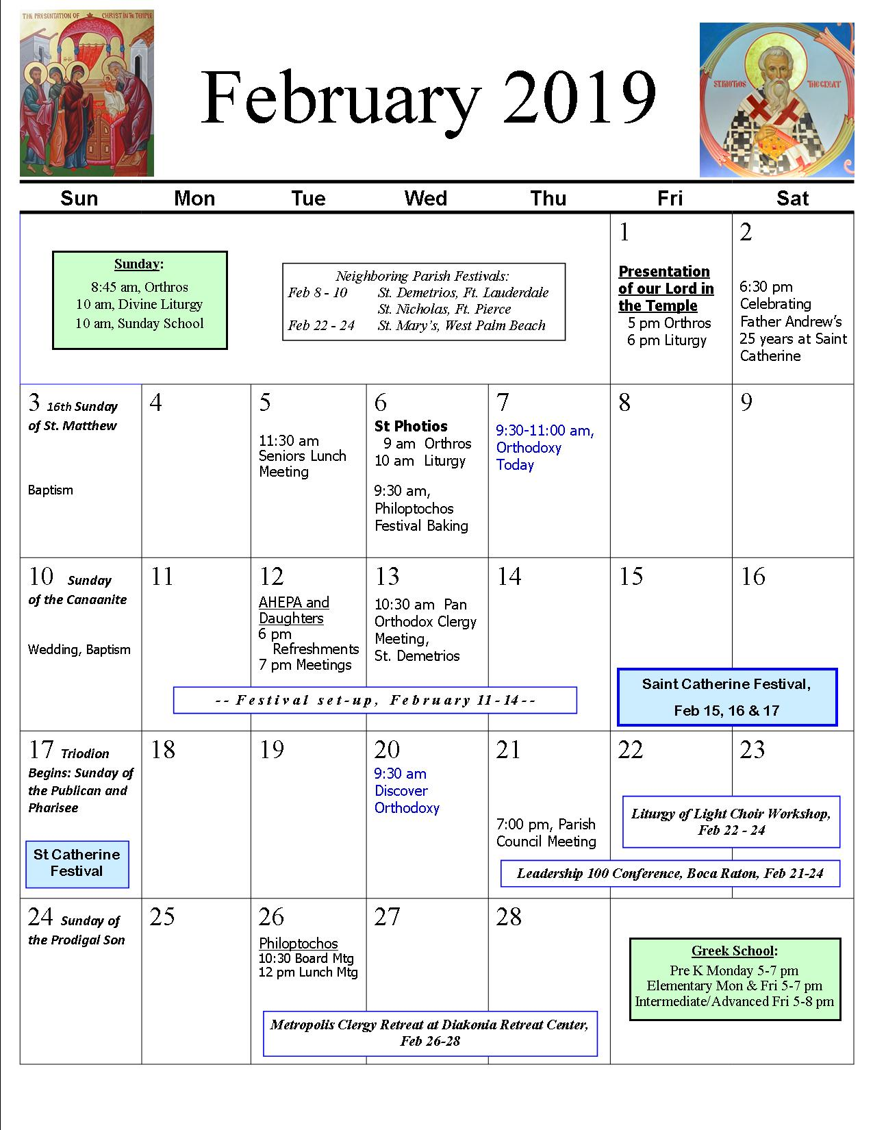 Parish Calendar | St  Catherine Greek Orthodox Church